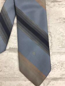 Vintage-Givenchy-Monsieur-Neck-Tie-Blue-Tan-Diagonal-Stripe-Print-58x2-75-034