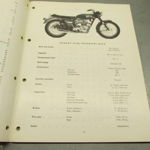 Triumph Trident T150 1969-70 2nd Ed Spares List Parts Book 99-0866 1B106 NOS OEM
