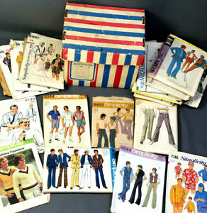 18 Vtg 1960s-70s Patterns MEN's - HIPPIE / BELL BOTTOMS / FORMAL Sewing Clothing