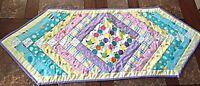 Handmade Spring Easter Ostara Quilted Table Runner 50x19 Pastels Stripes