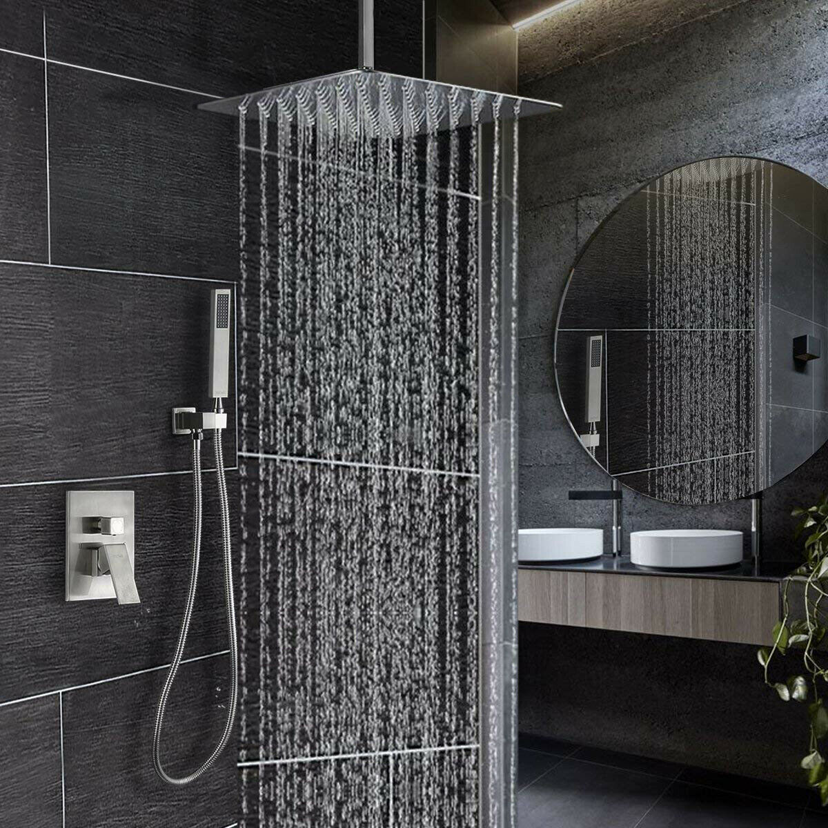Brushed Nickel Shower Faucet Set With Valve And 16 Rain Shower Head Systems