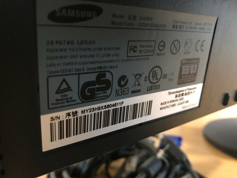 Samsung, LCD Syncmaster 2343BW, 23 tommer