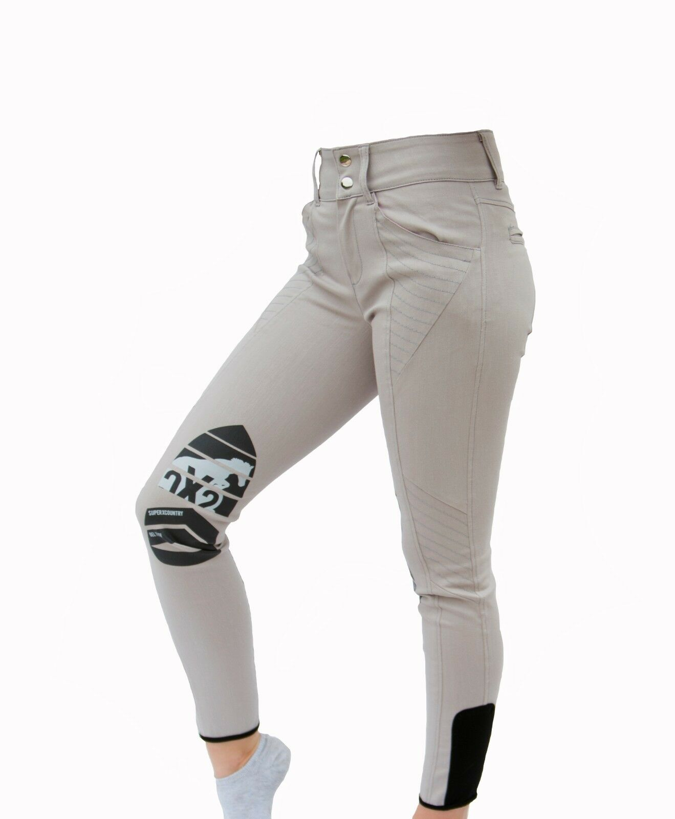SXC Equestrian Competition Stone Beige Riding Breeches Silicone Gel Knee Grip