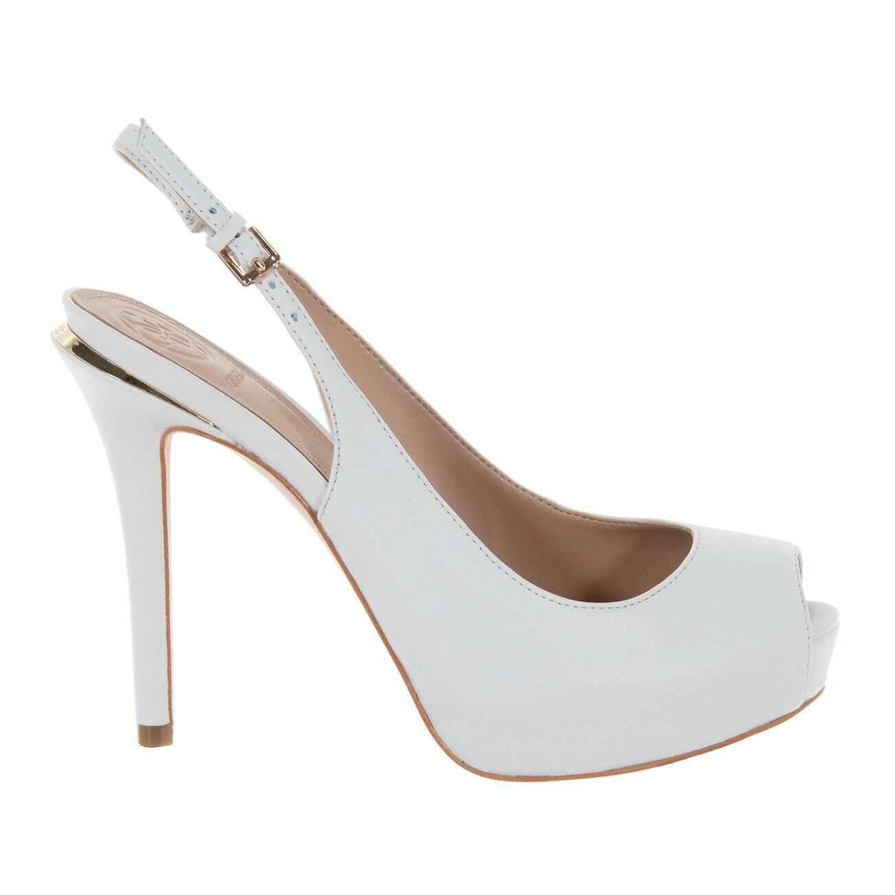Schuhe Guess Damen Sandalen Hartlie Stumpf Leder Weiß FL6HRLLEA07