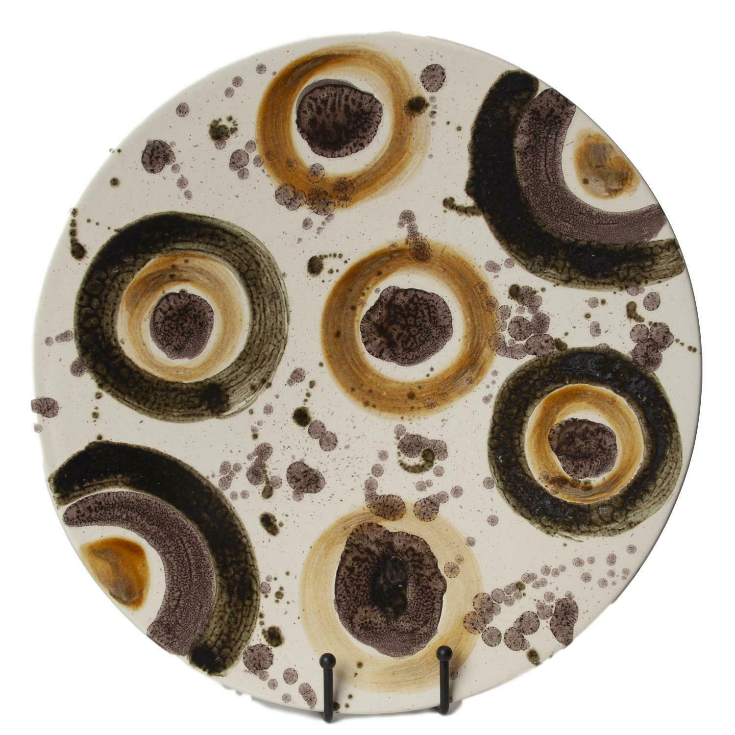 EKunsth Tone braun Dots Abstract Decorative Plate   Midcentury Modern Kunst Charger
