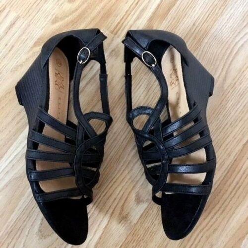 Ladies Leather Mule Size Back Sling Black Sandal On Wedge Slip Gladiator Shoe AOqHAwr