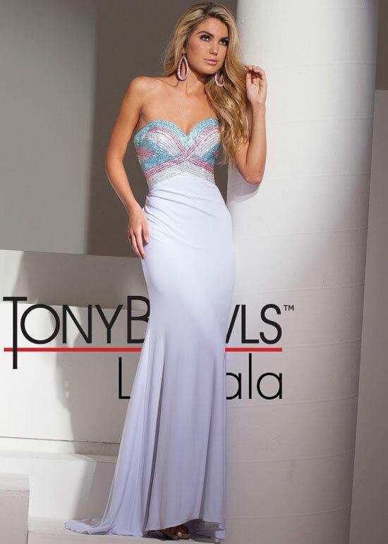 836aad1cab64 Tony Bowls Le Gala Prom Dress Dress Dress 115545 White Pink blueee Size 8  NWT a7fa89 ...