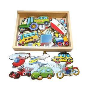 New Kids Wooden Toy Box Magnetic Transport Vehicle Car Plane 20PCs Fridge Magnet