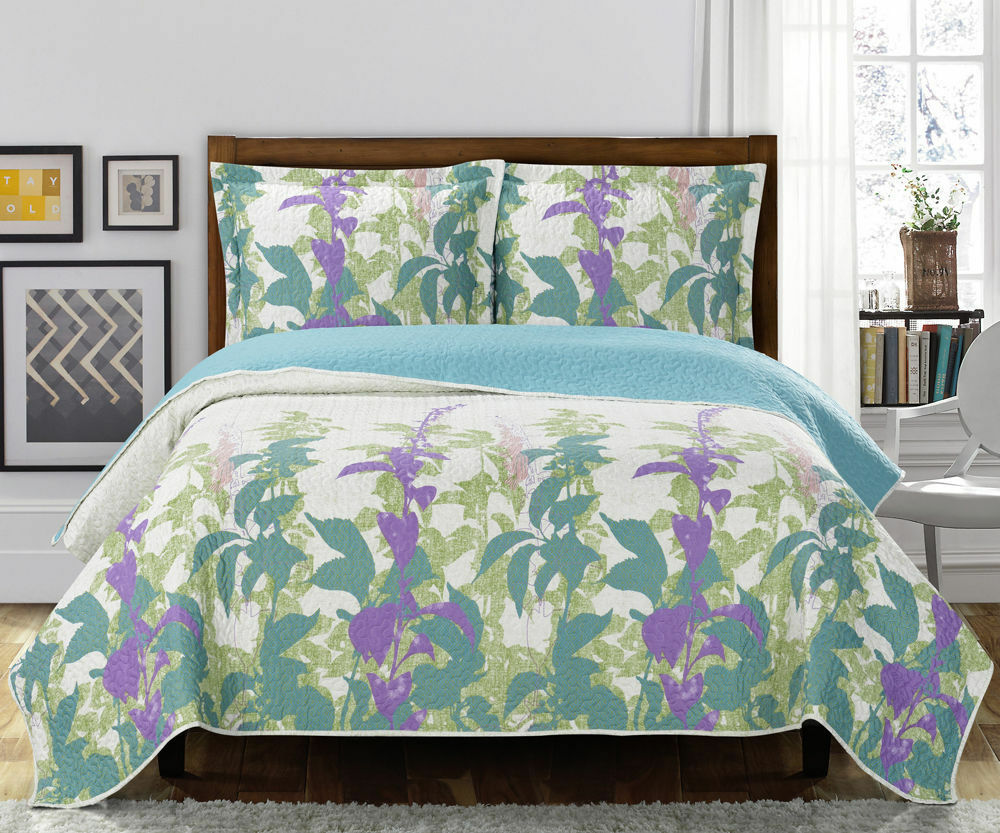 Luxury Freya Coverlet set, Wrinkle Free Printed Bedspread Set, Reversible Quilt