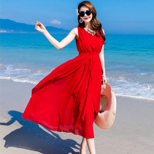new summer Bohemia fashion trend elegant sleeveless vest chiffon beach dress