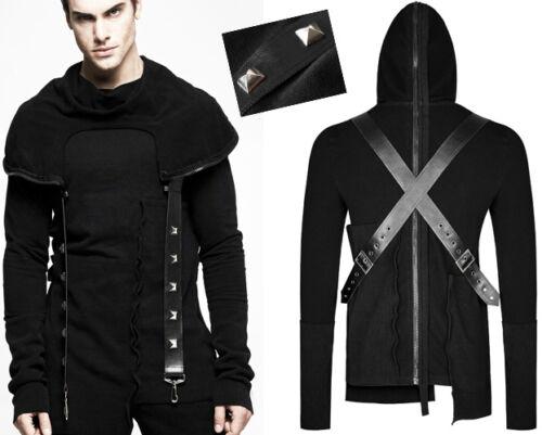 Maglione Punkrave Steampunk Punk Hood Chiodo gotico Harness Zipperato Man vBzArxvqw