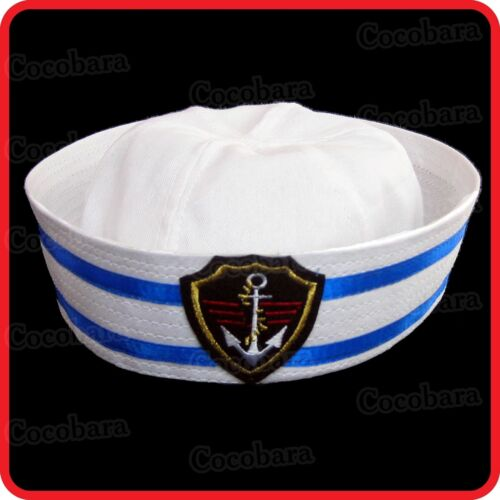 KIDS CHILDRENS//ADULTS NAVY SAILOR HAT-POPEYE-GOB-YACHT-BOAT-SEA-COSTUME-ANCHOR06