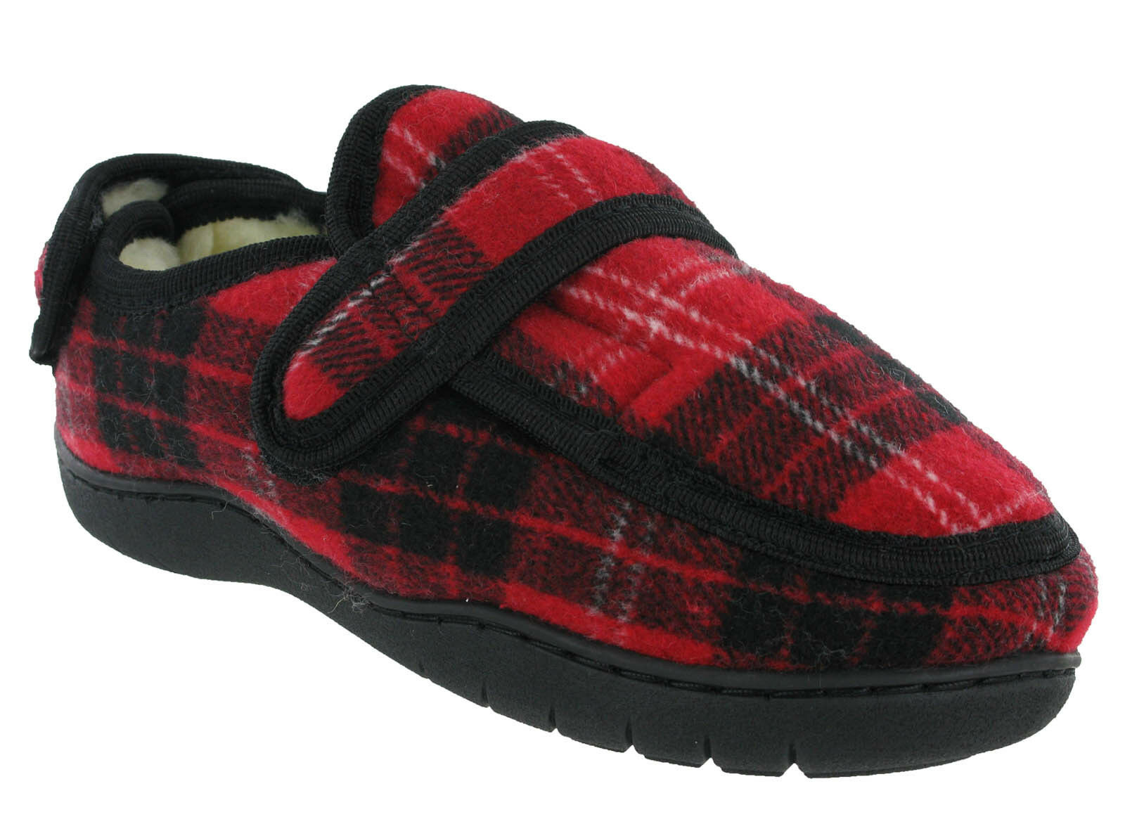 Extra Wide Fitting 5E E Memory Foam Tartan Touch Fastening Womens shoes Slippers