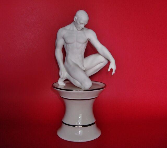 White 5.25 Inch Fine Porcelain Nude Female Statue Figurine Kneeling