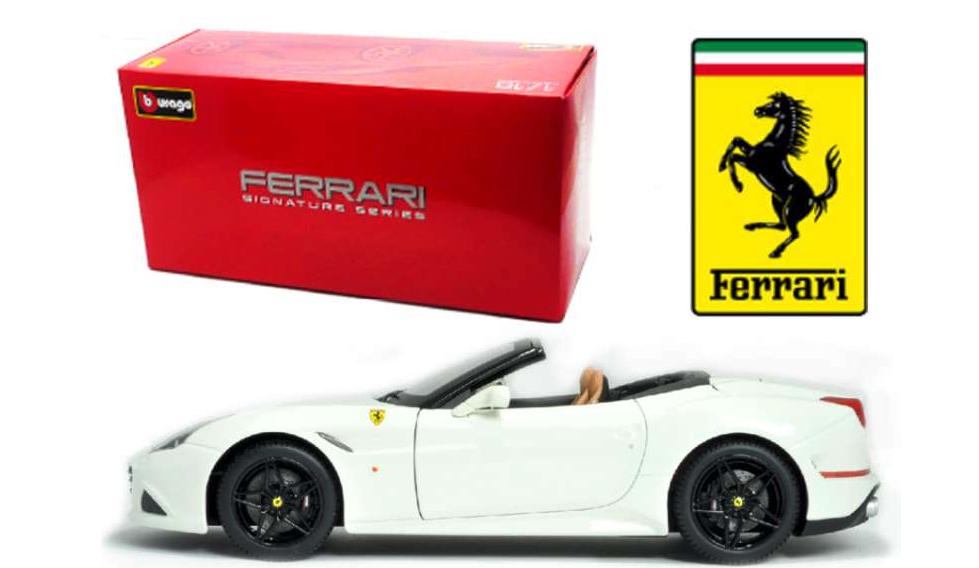 Bburago 1 18 Scale Ferrari California T Haut Ouvert-Blanc-Signature Series