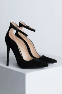 Shoe-Republic-Camila-Black-Vegan-Suede-Scalloped-Sides-Ankle-Strap-Pointed-Pumps