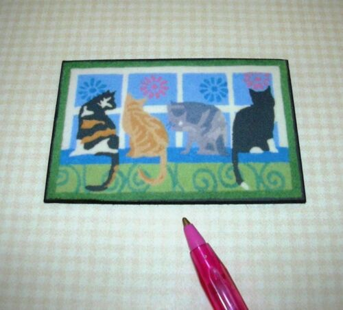 DOLLHOUSE Miniatures 1//12 Scale COLORFUL CATS Miniature Front Door Mat