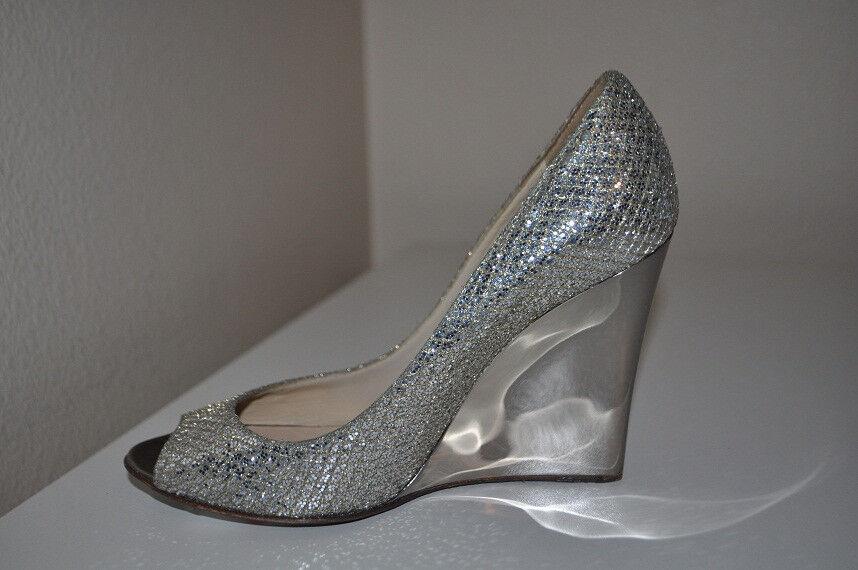 NOUVEAU  Jimmy Choo baxen Wedge Pump Chaussures Champagne Champagne Champagne Glitter Bridal Chaussures 35 Eu 5 Us f65d80