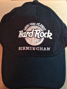 Hard-Rock-Cafe-BIRMINGHAM-Black-Baseball-HAT-034-STP-034-SAVE-THE-PLANET-Silver-Black