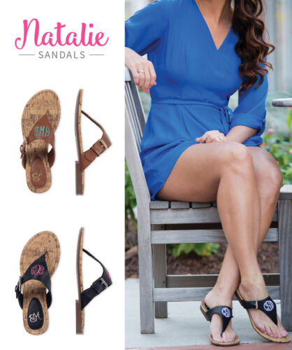 WB Women/'s Natalie Sandals Black Brown Sizes 6 7 8 Blank or Monogrammed
