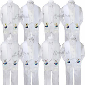 5pc Baby Boy Virgin Mary Pope Stole Christening Neck or Bow Tie Vest Suit Sm-7