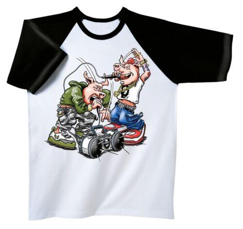 Designer Marques Musique T-Shirt Rock You © Hip-Hop Pigs 10416 Blanc