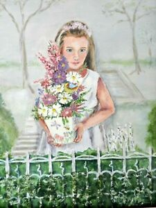 "M JANE DOYLE SIGNED ORIG.ART OIL/CANVAS PAINTING""IN THE GARDEN""(PORTRAIT)FRAMED"