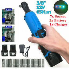 7 Socket 38 Cordless Electric Ratchet Right Angle Wrench Impact Power Tool