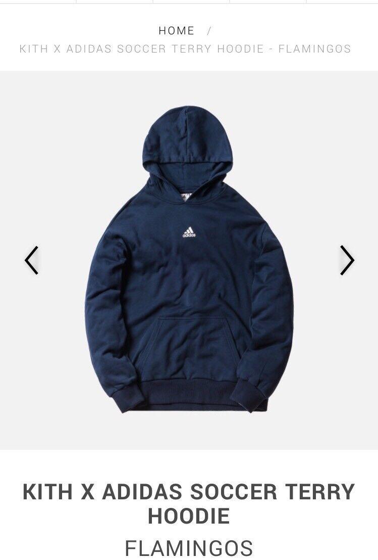 Kith x Adidas Soccer Terry Hoodie Navy Salmon White NWT Sz XS