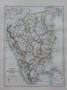 Carte De Linde Mysore.Collections 1897 Victorien Carte Inde Madras Mysore Coorg Salem
