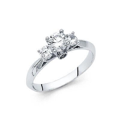 14k Solid Yellow Gold 1.0 Ct Diamond Three Stone Engagement Ring Round Cut