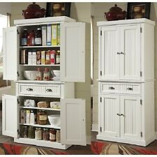 Tall Kitchen Pantry Storage Cabinet Utility Closet Distressed Solid Wood  White