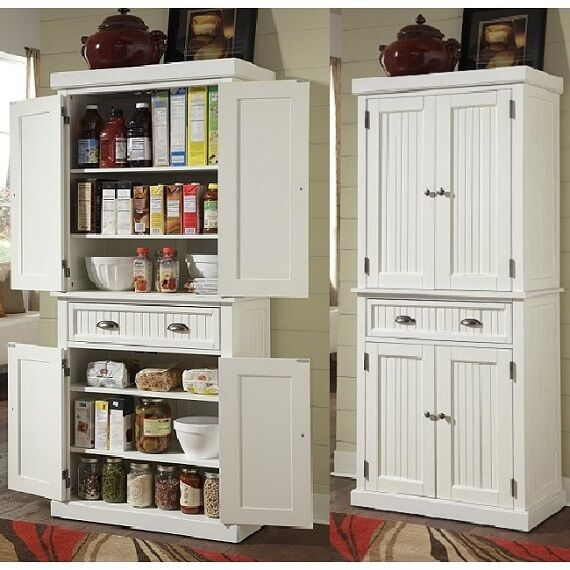 Tall Kitchen Pantry Storage Cabinet Utility Closet Distressed Solid Wood White For Online Ebay