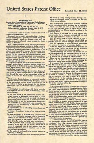 Original Diver 282 Official Jacques Cousteau Scuba Fins US Patent Art Print