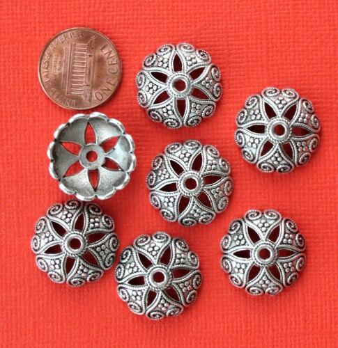 10 Bead Caps Antique Silver Tone Larger Size Ornate Pattern SC4732