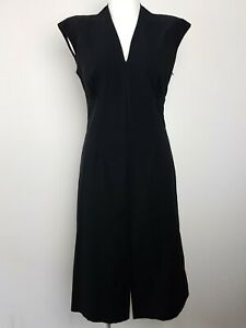 VERTICE NZ Designer Black Corporate Sheath Pencil Dress Women's Size 10 V-Neck