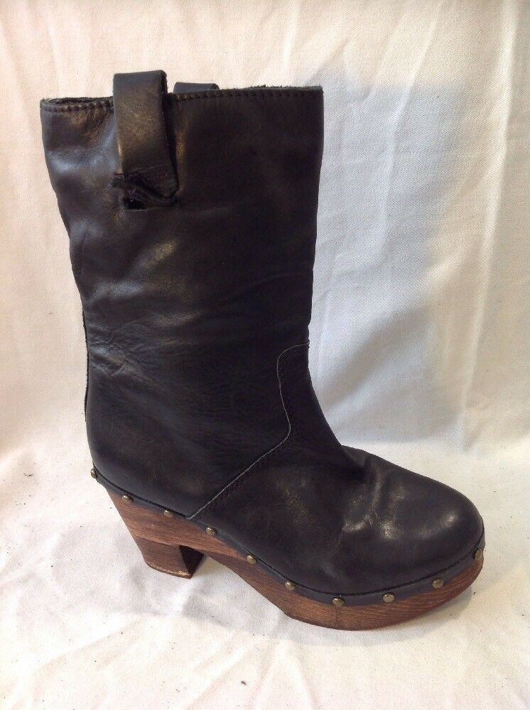 Top Shop Black Mid Calf Leather Boots Size 39