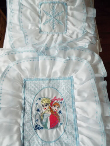 letto. Carrozzina Anna congelati Motif Set di biancheria da letto-Culla NUOVO-dolls,embroidered-elsa