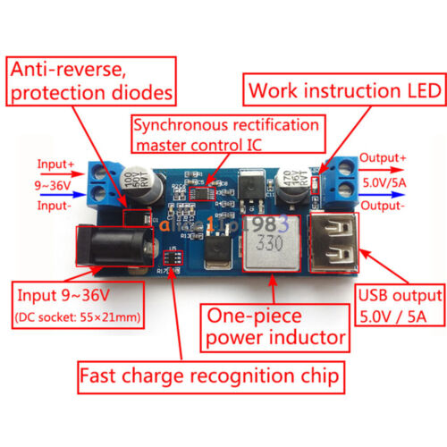 24V 12V To 5V 5A Power Module DC-DC Step-Down Power Supply Converter
