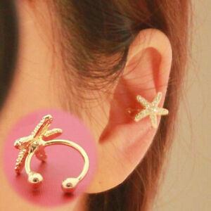 1X-WOMEN-Starfish-Gold-Tone-Full-Rhinestone-CRYSTAL-Earring-Ear-Clip-Cuff-Wrap