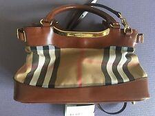 Burberry Brown Tan Bridle House Check Handbag Plaid Leather