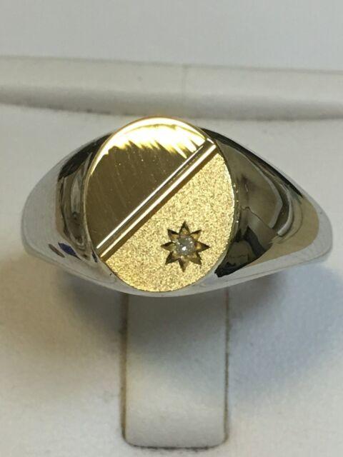 Substantial Sterling Silver & 9 Carat Gold GENTS DIAMOND SET SIGNET Ring
