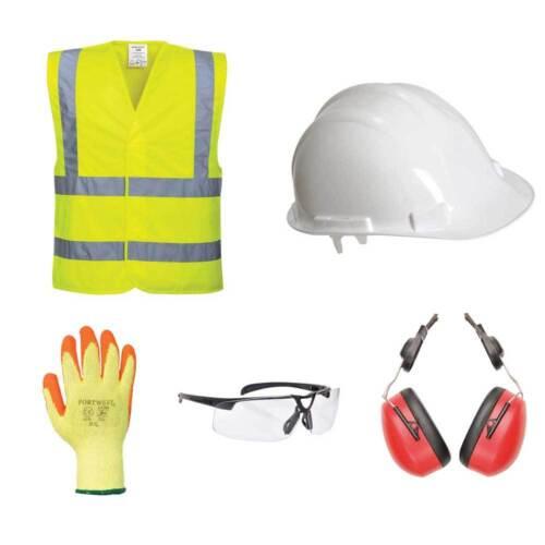Kit de Sécurité PPE de base-hard hat gants Hi-Vis Gilet Oreille Défenseurs verres