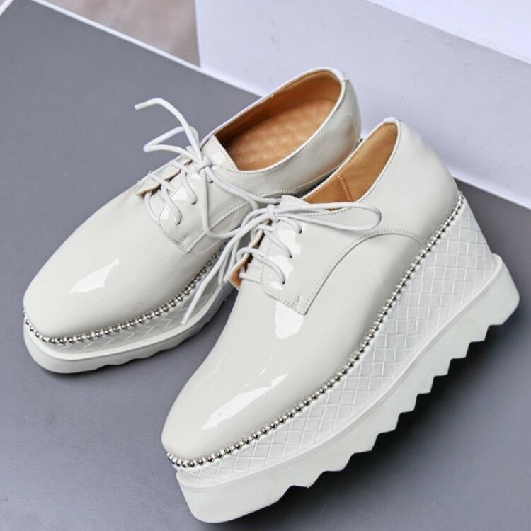Womens Fashion Lace Up Collegiate shoes shoes shoes Pure color Patent leather Oxford shoes 3196fb