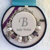 Deluxe Bella Perlina Purple Silver Bracelet With Crystal High Heel Charm