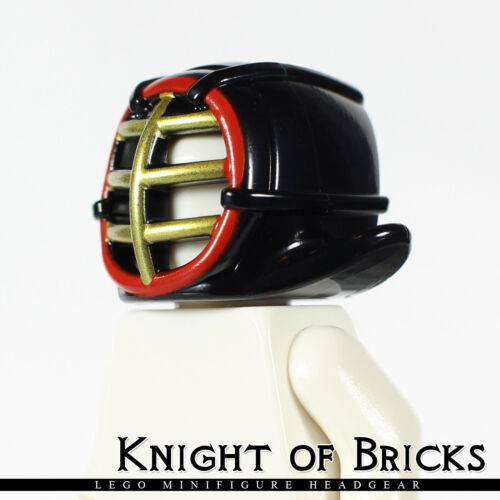LEGO Minifigure BLACK Headgear Ninjago Kendo Helmet with Gold Grille Mask