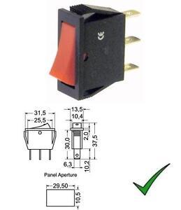 Deviatore bilanciere unipolare miniatura 2 posizioni tasto rosso 250V 125V 10A