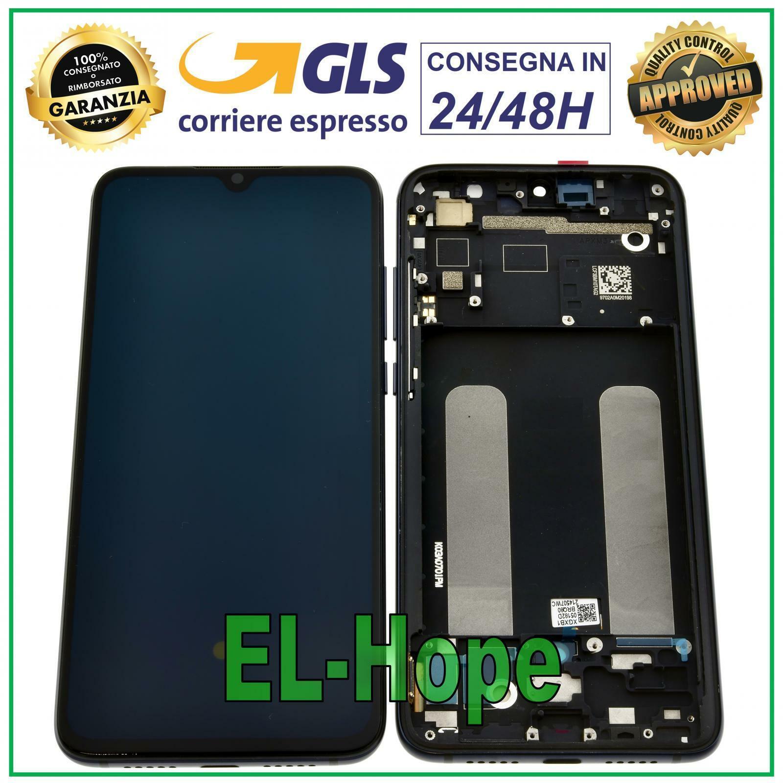 xiaomi: DISPLAY LCD OLED TOUCH SCREEN + FRAME PER XIAOMI MI 9 LITE M1904F3BG VETRO NERO