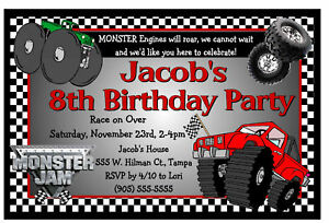 monster jam monster truck birthday party invitations ebay