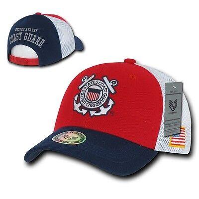 Red & Navy Blue United States Coast Guard USCG Mesh Military Baseball Cap Hat